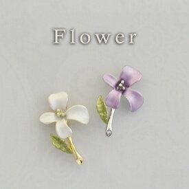 ピンブローチ 小さい花 パープル、ホワイト ピンブローチ/ピンバッジ/タックピン/ブローチピン