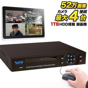 DVR 防犯カメラ専用 録画機 DVR 録画装置 高品質 高性能 1TBハードディスク内蔵 防犯用録画機 【付属品全てセット】【高画質960H録画対応】【iPad、iPhone、Android監視】SKY-524C-1T