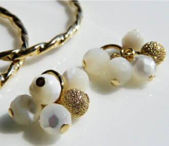 Nature stone gold snowball charm