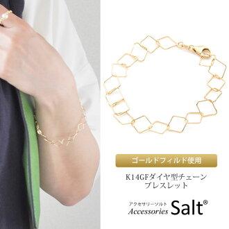 K14GF diamond type chain bracelet Lady's