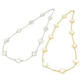 黄金花 ネックレス 10花両面 白蝶貝 シェル クローバー レディース フラワーモチーフ 2カラー チェーン マザーオブパール 天然素材 天然石 ブランド トラベルジュエリー
