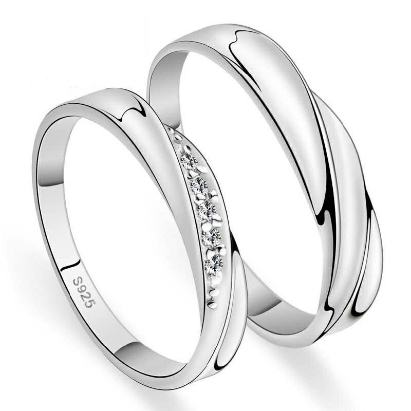 曲線美 ペアリング 純銀 シルバー 925 指輪 女性用には上質クリスタル ラウンドシングルカット Vカットストーン リング ラグジュアリー ラブリング送料無料