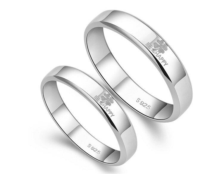 ペアリング 純銀 シルバー 925 指輪 四葉のクローバー BE HAPPY シンプル ラブリング送料無料 あす楽
