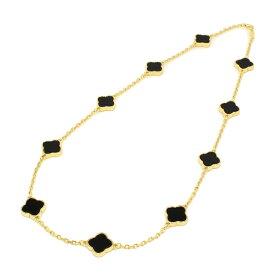 黄金花 ネックレス 10花 クローバー オニキスカラー両面黒 レディース フラワーモチーフ 2カラー チェーン ブラック ブランド トラベルジュエリー