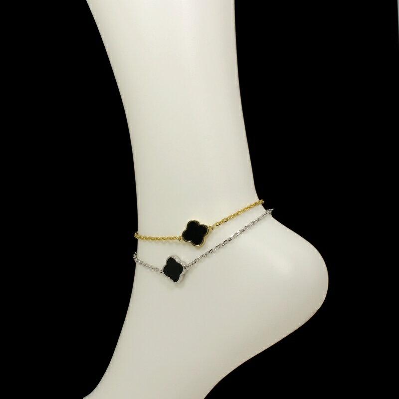 黄金花 アンクレット 1花オニキスカラー両面黒 クローバー レディース フラワーモチーフ 2カラー チェーン ブラック ブランド トラベルジュエリー
