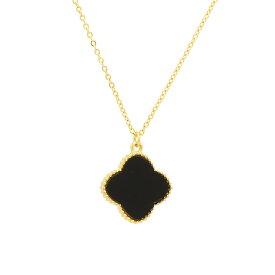 ミル黄金花 ネックレス 少し大きめ18mm クローバー 1花 オニキスカラー両面黒 レディース フラワーモチーフ 3カラー チェーン ブラック ブランド トラベルジュエリー ピンクゴールド追加