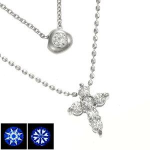 WG18一粒ダイヤモンド&クロス2連ネックレスH&C ハート&キューピッド/送料無料