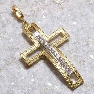 ペンダントトップ K18 メンズ クロス ダイヤモンド ゴールド ホワイトゴールド 十字架 日本製 刻印入り 鑑別書付き ペンダントヘッド
