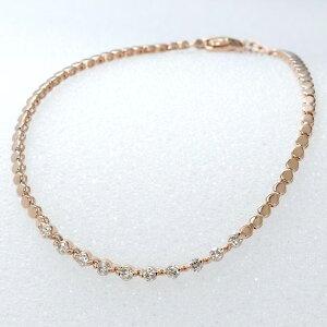 ブレスレット レディース K18 ダイヤモンド 18金 ピンクゴールド 日本製 刻印入り 鑑別書付き