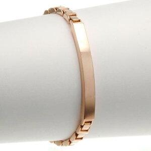 IDブレスレット K18 18金 ピンクゴールド スタイリッシュチェーン 20g 長さ指定作成可能 刻印入り 日本製