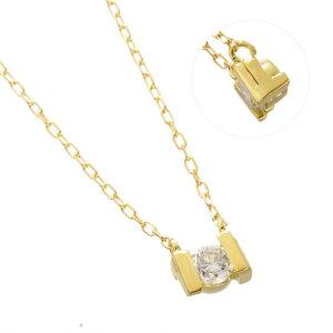 K18YG ダイヤモンド 0.10ct アルファベット ネックレス F/送料無料