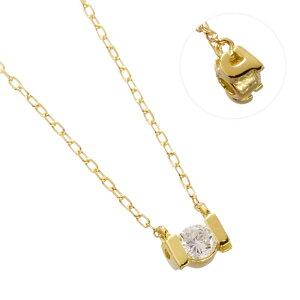 K18YG ダイヤモンド 0.10ct アルファベット ネックレス J/送料無料
