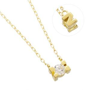 K18YG ダイヤモンド 0.10ct アルファベット ネックレス N/送料無料