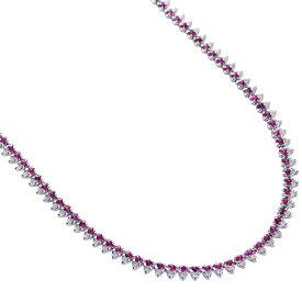 ルビー ダイヤモンド ロング ネックレス 18金ホワイトゴールド K18WG 70cm