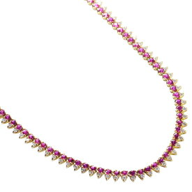 ルビー ダイヤモンド ロング ネックレス 18金イエローゴールド K18 80cm