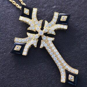 18金 ネックレス メンズ クロス k18 18k ゴールド ダイヤモンド 2カラット オニキス 十字架 ビッグサイズ 男性用 日本製 鑑別書付き 刻印入り【人気アイテム】