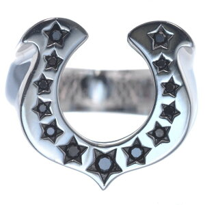 【5%OFFクーポン】指輪 メンズリング 18金 K18 18K ホワイトゴールド ブラックダイヤモンド 馬蹄 男性用 日本製 刻印入り 鑑別書付き ごつい 太め 大きいサイズ 作製可能