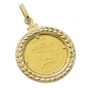 【お買い物マラソン期間5%OFFクーポン有り】純金 K24 24K ペンダントトップ エンジェル 1/25oz コイン 18金ペンダント枠付