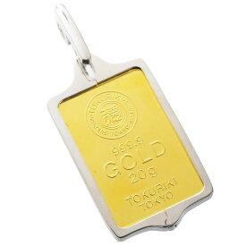 純金 インゴット K24 20g ゴールドバー 徳力 シルバー925 枠付き ペンダント トップ 即納