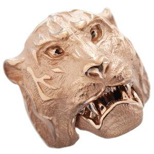 【8/1(日)24時間限定ポイント11倍!】指輪 メンズリング 18金 K18 18K ピンクゴールド 虎 タイガー 男性用 日本製 刻印入り ごつい 太め 大きいサイズ 作製可能