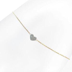 ブレスレット レディース 18金 ピンクゴールド プラチナ ダイヤモンド アズキチェーン リバーシブル カットパーツ ハート k18 18k Pt900 日本製