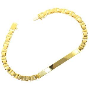 ブレスレット メンズ 純金 K24 24K ゴールド 24g 20cm メンズ レディース プレート 日本製 刻印入り 長さ指定可能 地金