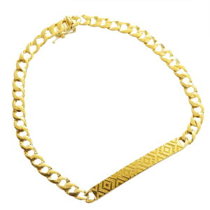 喜平 ブレスレット K24 メンズ 純金 24金 ゴールド 11g 20cm プレート オルテガ柄 日本製 刻印入り 長さ指定可能 キヘイ 男女兼用 4mm幅 手造り