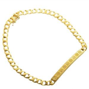 喜平 ブレスレット K24 メンズ 純金 24金 ゴールド 11g 20cm プレート クロス柄 日本製 刻印入り 長さ指定可能 キヘイ 男女兼用 4mm幅 手造り