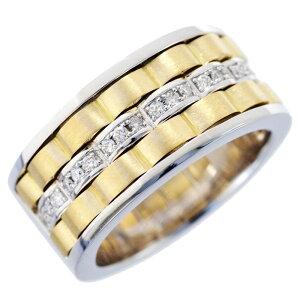 【8/1(日)24時間限定ポイント11倍!】指輪 メンズリング 18金 ゴールド プラチナ ダイヤモンド コンビ K18 18K Pt900 幅広 男性用 日本製 刻印入り 鑑別書付き ごつい 太め 大きいサイズ 作製可能