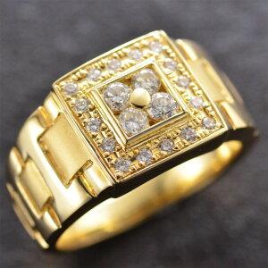 【5%OFFクーポン】18金 印台 リング 指輪 メンズリング 18金 印台 K18 18K ゴールド ダイヤモンド 幅広 男性用 日本製 刻印入り 鑑別書付き ごつい 太め 大きいサイズ 作製可能