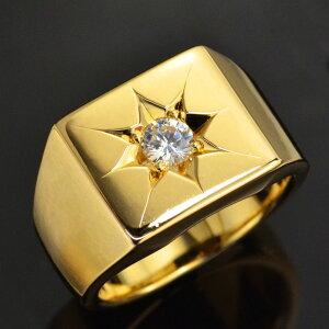 メンズ 指輪 24金 印台 リング 純金 K24 24K ゴールド ダイヤモンド 後光留め 男性用 日本製 刻印入り ごつい 太め 大きいサイズ 作製可能【人気アイテム】