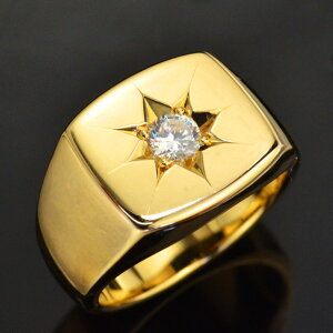 【5%OFFクーポン】メンズ 指輪 24金 印台 リング 純金 K24 24K ゴールド ダイヤモンド 後光留め 男性用 日本製 刻印入り ごつい 太め 大きいサイズ 作製可能
