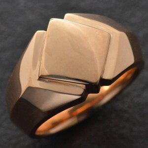 【5%OFFクーポン】18金 印台 リング 指輪 メンズリング K18 ピンクゴールド 幅広 地金 男性用 日本製 刻印入り ダイヤモンドセット可能 ごつい 太め 大きいサイズ 作製可能 裏抜き有り 軽量化