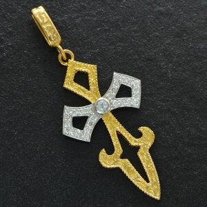 【5%OFFクーポン】ペンダントトップ メンズ K24 24金 純金 Pt999 純プラチナ ダイヤモンド 十字架 クロス 剣 ソード 刻印入り 日本製 鑑別書付き ペンダントヘッド 大きめ