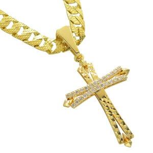 喜平 ネックレス 18金 K18 メンズ 喜平ネックレス 十字架 クロス ダイヤモンド ペンダントトップ セット ゴールド リバーシブル 模様 30g 50cm 5mm幅 男性 日本製 刻印入り 鑑別書付き 長さ指定可