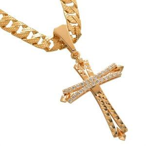 喜平 ネックレス 18金 K18PG メンズ 喜平ネックレス 十字架 クロス ダイヤモンド ペンダントトップ セット ピンクゴールド リバーシブル 模様 30g 50cm 5mm幅 男性 日本製 刻印入り 鑑別書付き 長