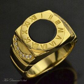 K18 ダイヤモンド オニキス メンズリング 指輪/送料無料