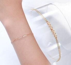 【店内全品ポイント2倍】ブレスレット ピンクゴールド ダイヤモンド 即納 K10PG 日本製 2連チェーン