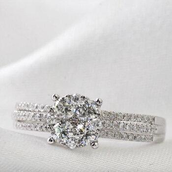 K18WGダイヤモンド計0.50ctup極小爪セッティングリング/送料無料