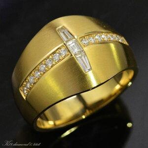指輪 メンズリング 18金 K18 18K ゴールド ダイヤモンド クロス 男性用 日本製 刻印入り ごつい 太め 大きいサイズ 作製可能