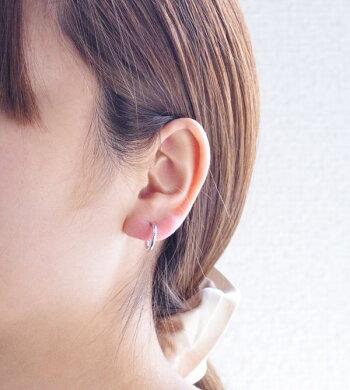 即納ホワイトゴールドフープイヤリングK14WGパイプスプリント2×15S/送料無料【あす楽対応】