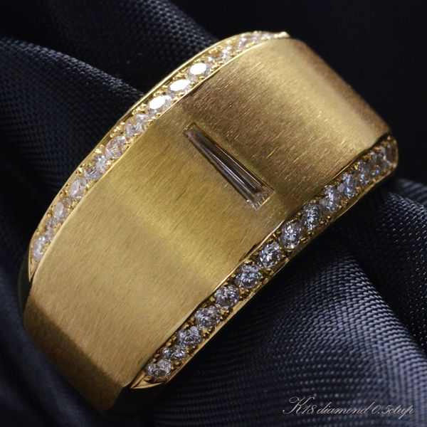 K18 ダイヤモンド メンズリング/送料無料
