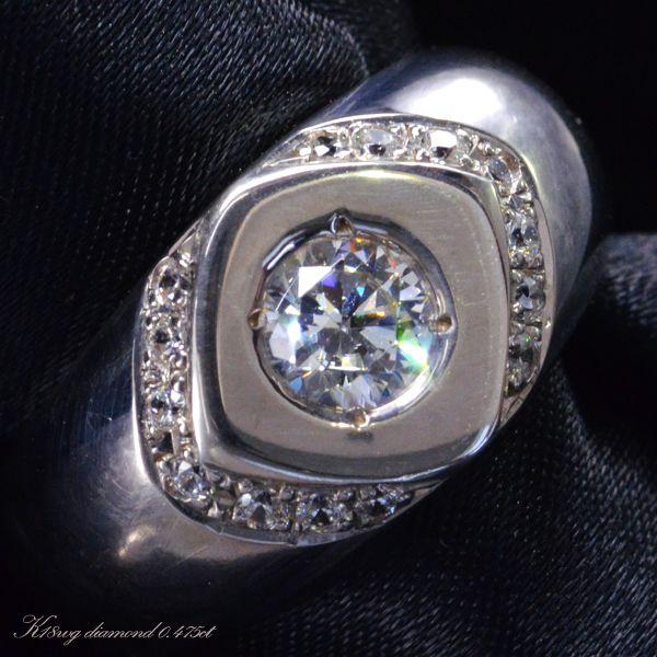ダイヤモンド メンズリング 指輪 K18WG ホワイトゴールド/送料無料