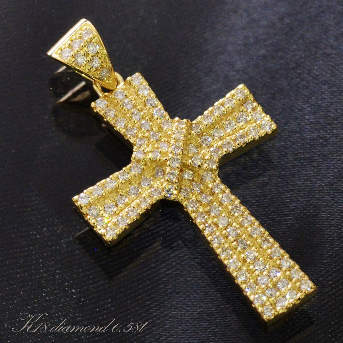 K18 ダイヤモンド クロス ペンダントトップ メンズ/送料無料