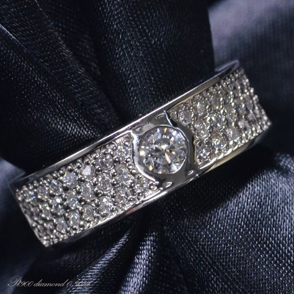 Pt900 ダイヤモンド メンズ リング/送料無料