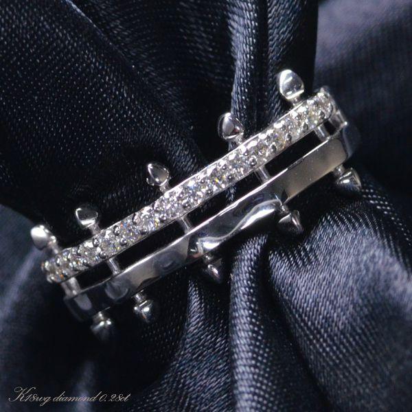 K18WG ダイヤモンド メンズ リング/送料無料