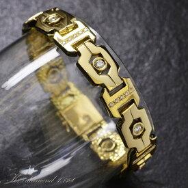 【店内全品ポイント2倍】ブレスレット メンズ 18金 ダイヤモンド K18 イエローゴールド 43g 日本製