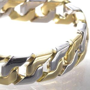 喜平 ブレスレット k18 プラチナ 18金 ゴールド メンズ コンビ 203g 21cm 日本製 長さ指定可能 メンズ レディース キヘイ
