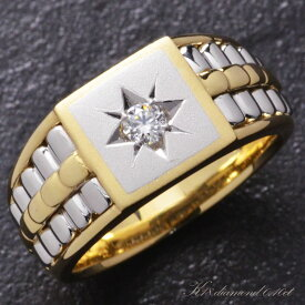 指輪 メンズリング 18金 K18 18K ゴールド プラチナ ダイヤモンド 印台 後光留め コンビ 男性用 日本製 刻印入り 鑑別書付き ごつい 太め 大きいサイズ 作製可能