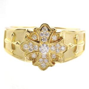 【5%OFFクーポン】指輪 メンズリング 18金 K18 18K ゴールド ダイヤモンド クロス 十字架 男性用 日本製 刻印入り 鑑別書付き ごつい 太め 大きいサイズ 作製可能